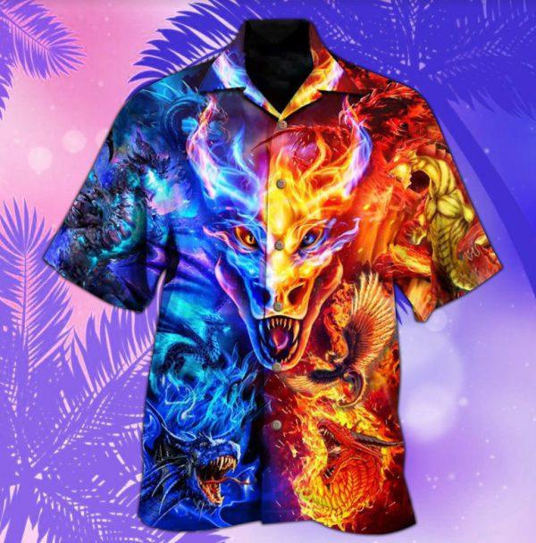 Dragon fire and water hawaiian shirt