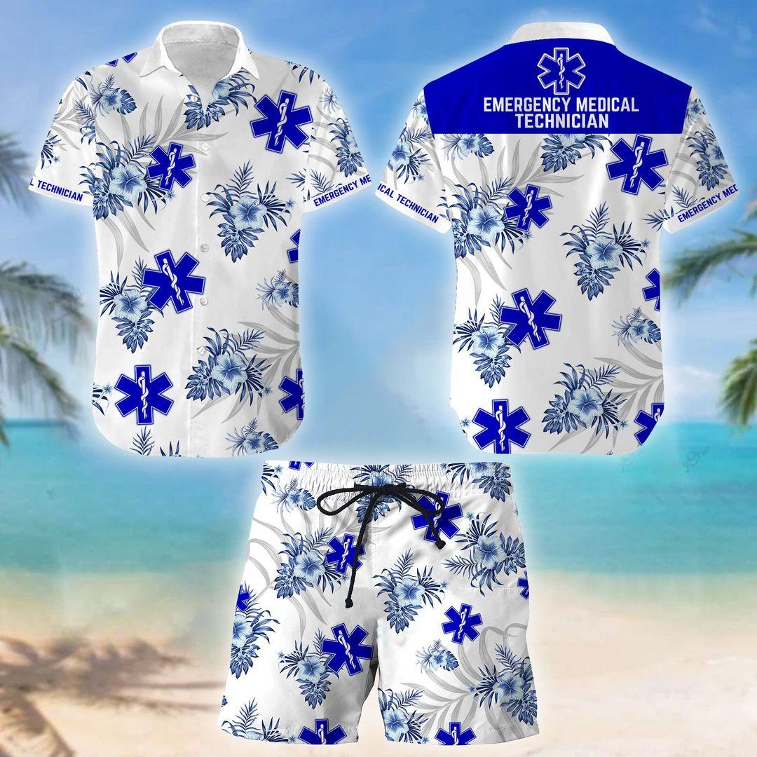 EMT Emergency Medical Technician Hawaiian Shirt And Short