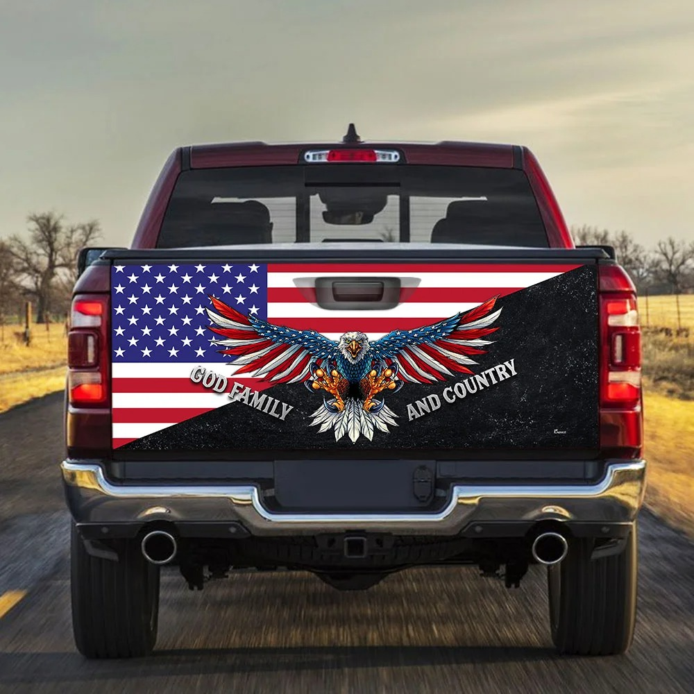 Eagle American flag God family and country Truck Tailgate Decal