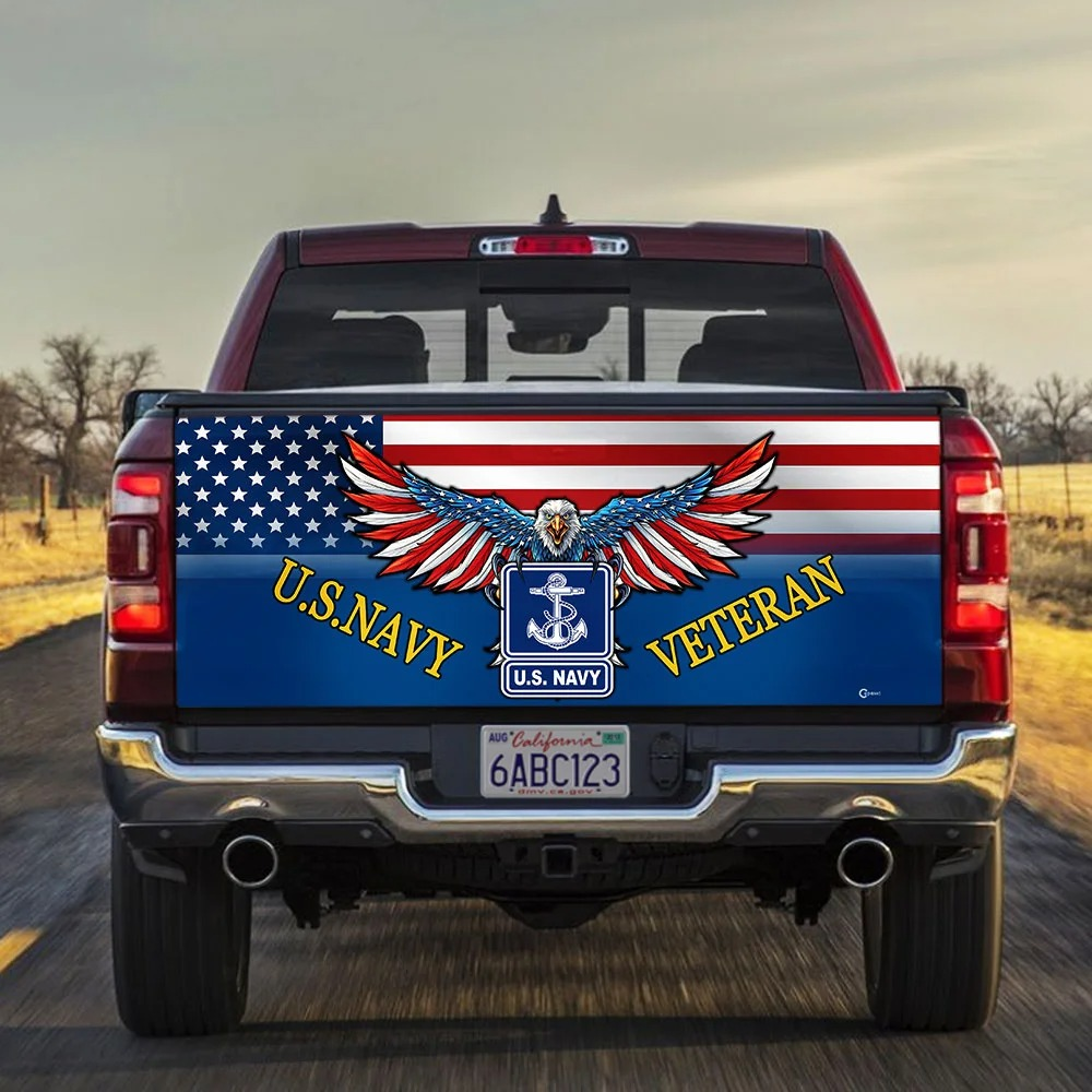 Eagle US Navy American flag veteran Truck Tailgate Decal