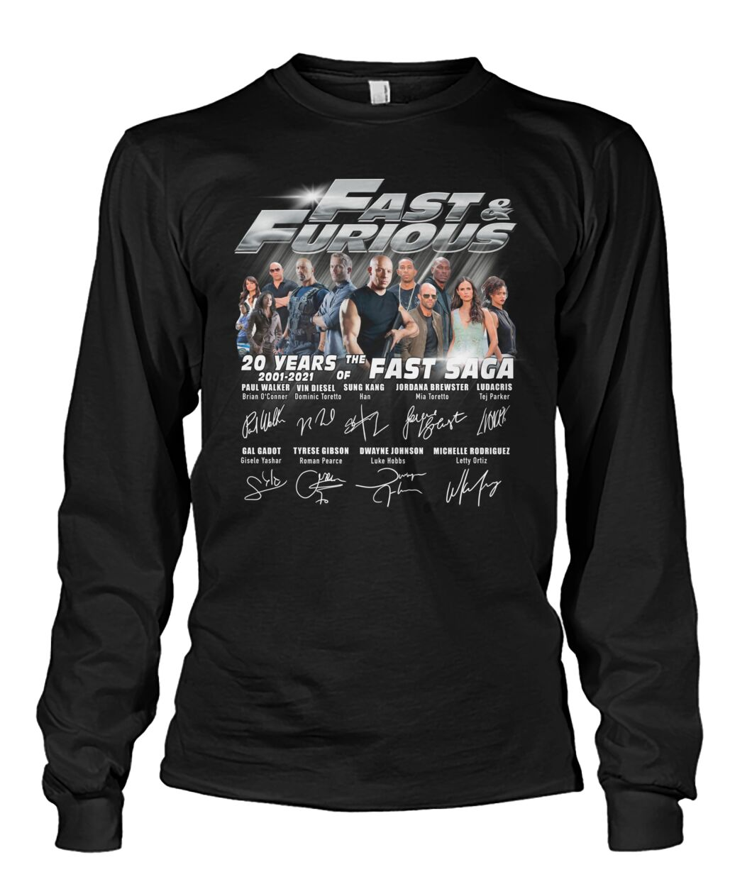 Fast and furious 20 years 2001 2021 of the fast saga shirt 13