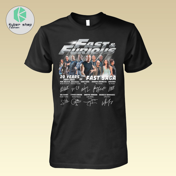Fast and furious 20 years 2001 2021 of the fast saga shirt 2