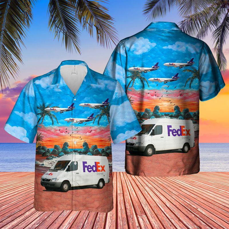 FedEx Express Delivery Van Hawaiian Shirt
