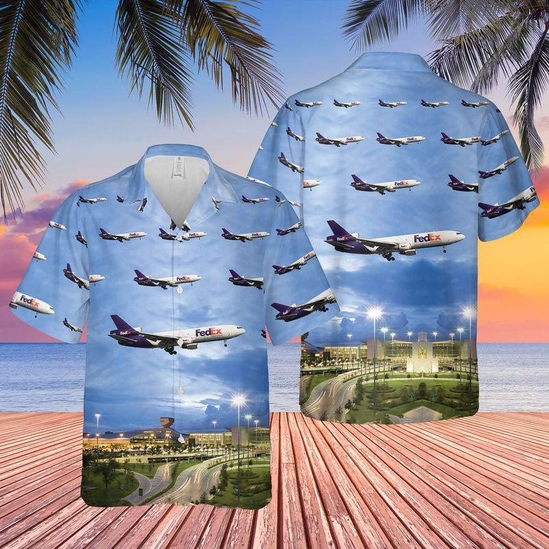 FedEx Express McDonnell Douglas MD 10 Miami International Airport Hawaiian Shirt 1