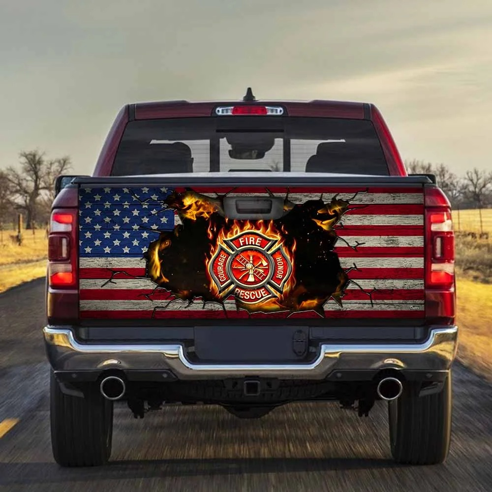 Firefighter American flag Truck Tailgate Decal