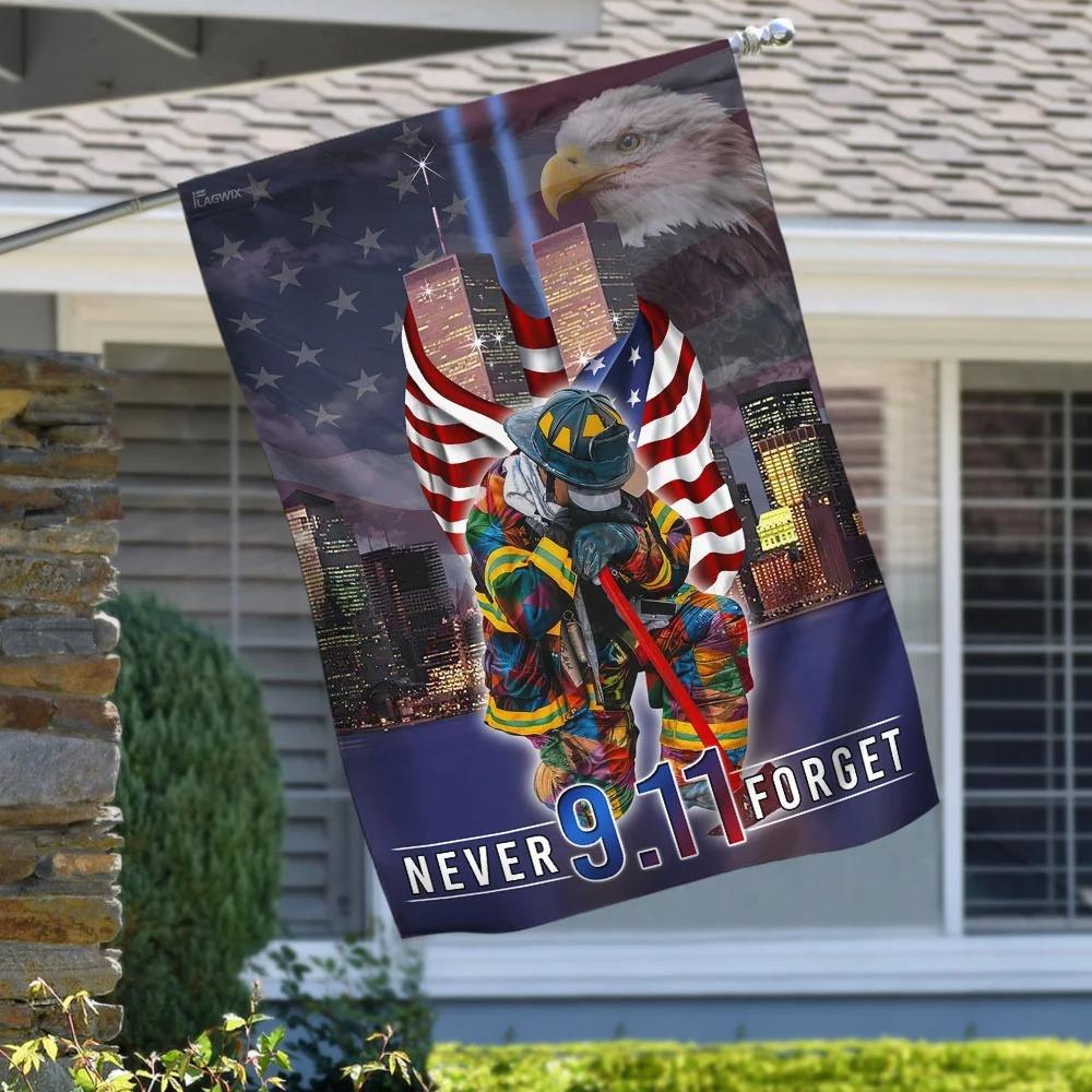Firefighter Never Forget September 11th American Flag
