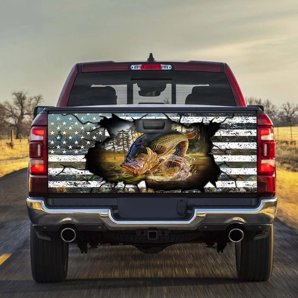 Fishing American flag Truck Tailgate Decal