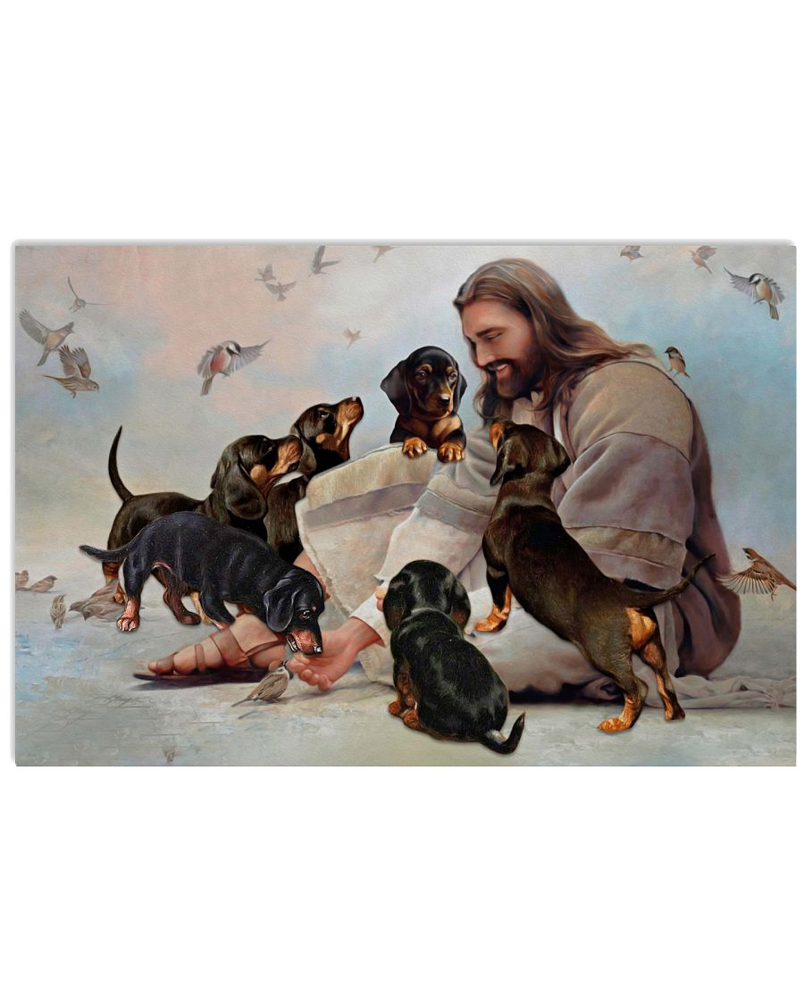 God surrounded by Dachshund angels Gift for you Poster
