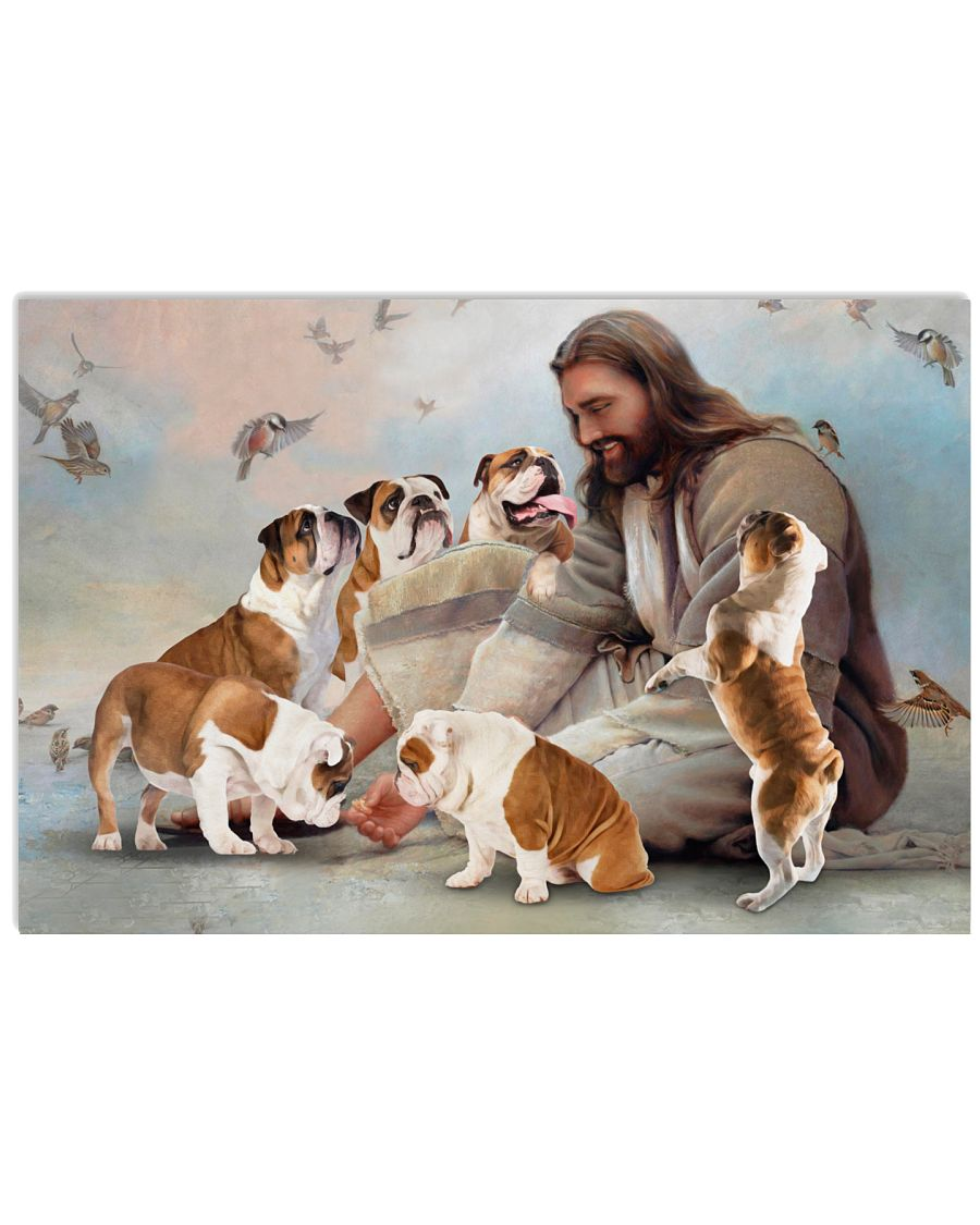 God surrounded by E Bulldog angels Gift for u Poster