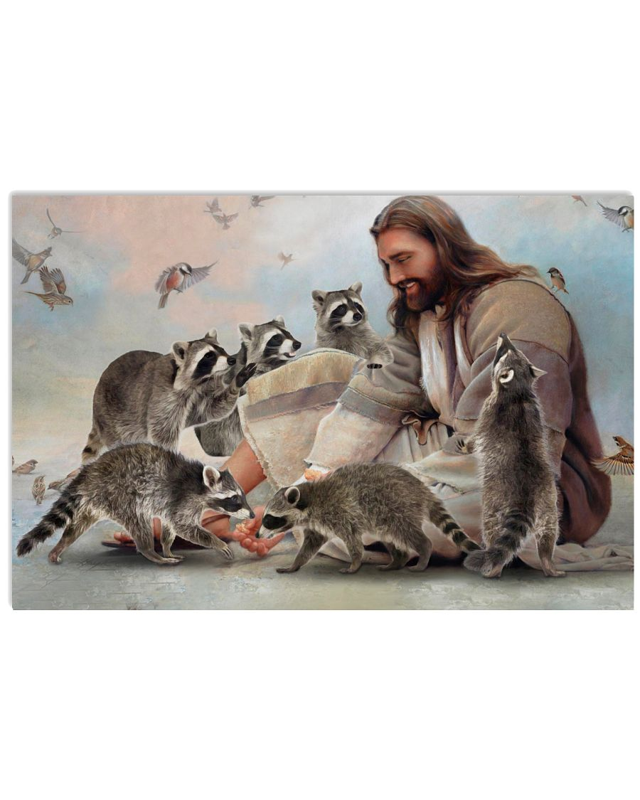 God surrounded by Raccoon angels Gift for you Poster