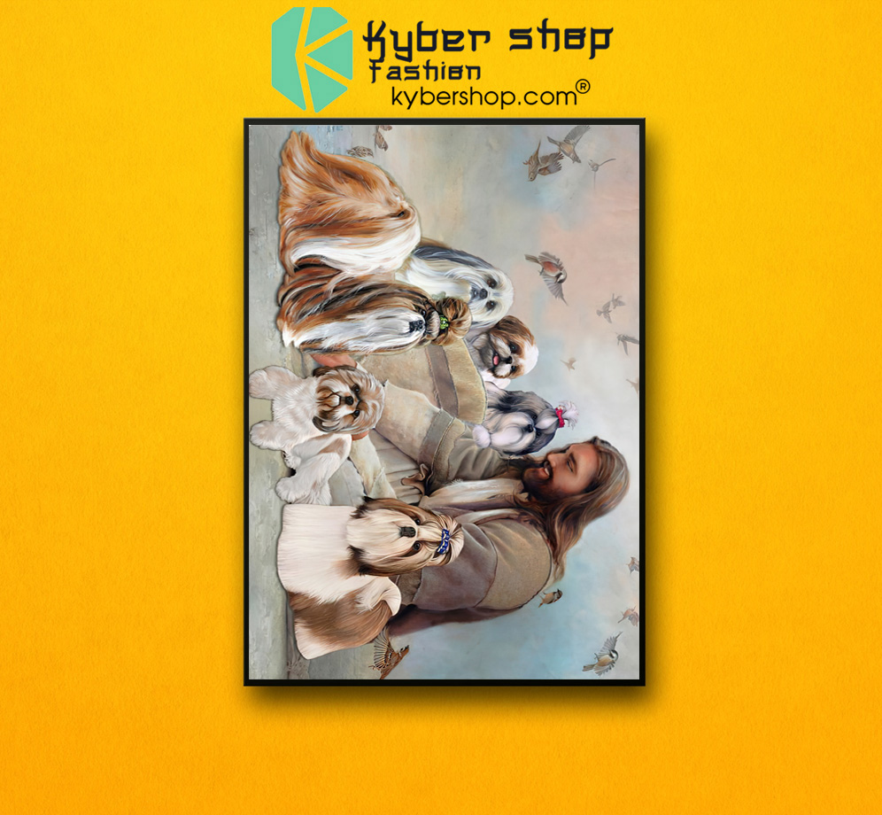 God surrounded by Shih Tzu angel Gift for you Poster 2