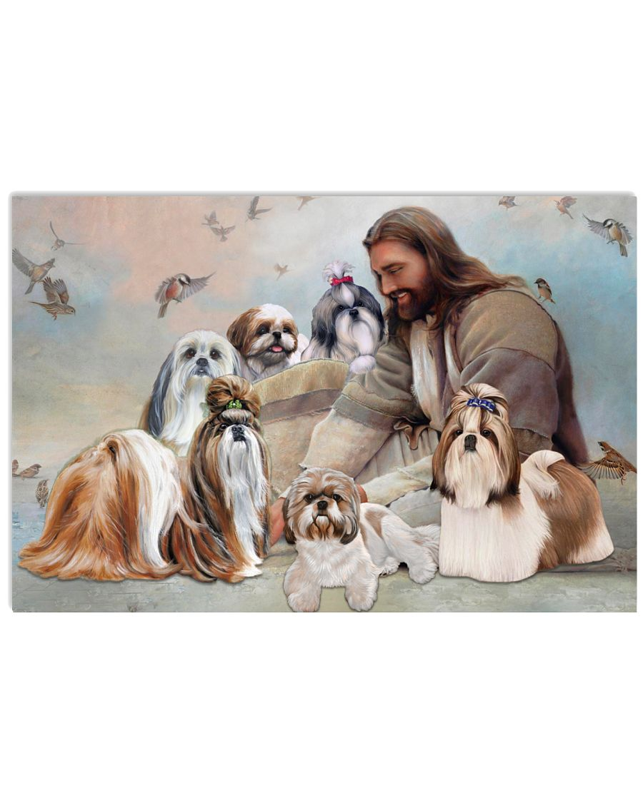God surrounded by Shih Tzu angel Gift for you Poster