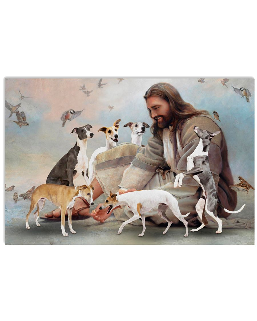 God surrounded by whippet poster as