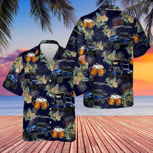Golf Cart and Beer Hawaiian Shirt