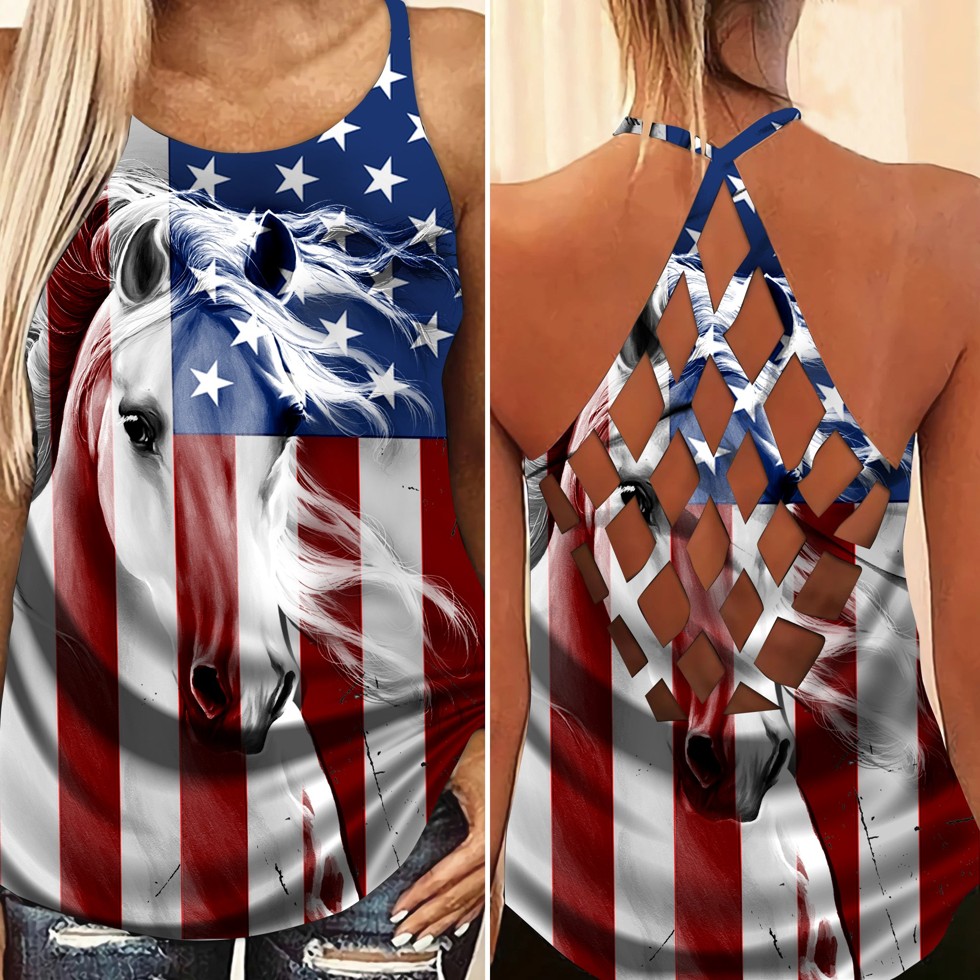 Horse America Flag criss cross strappy tank top