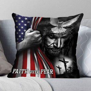 Jesus American Flag Faith Over Pear Pillow