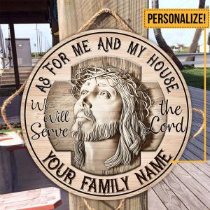 Jesus As For Me And My House Custom Name Wood Sign