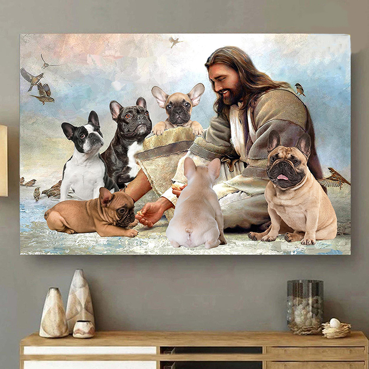 Jesus God Surrounded By French Bulldog Angels Canvas And Poster