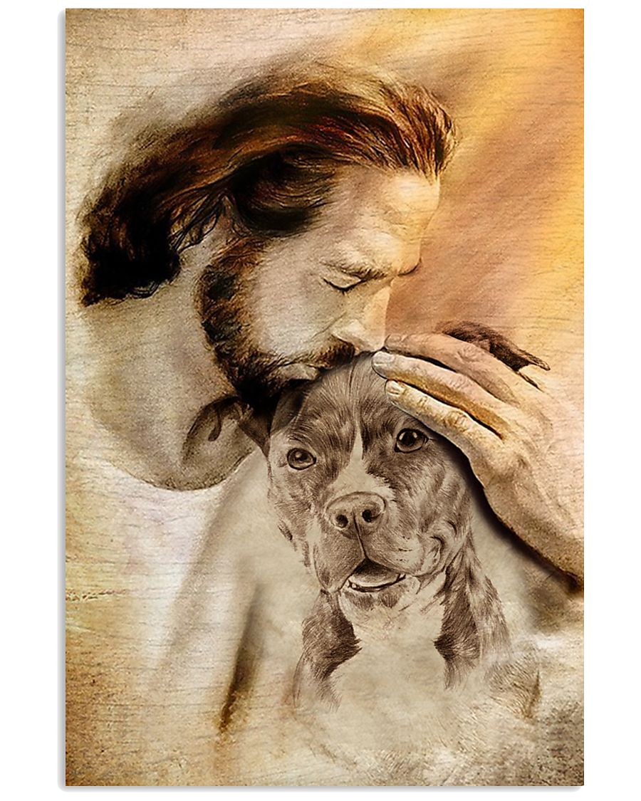 Jesus with lovely Pitbull poster