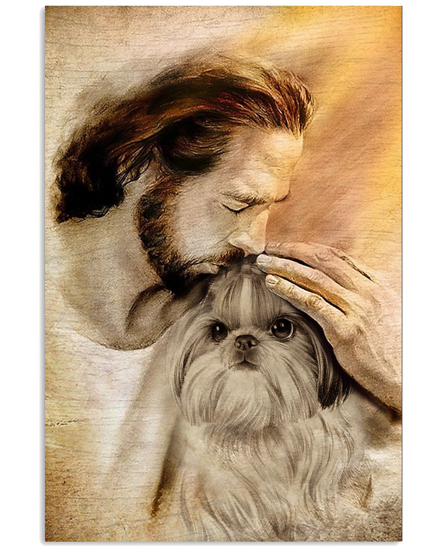 Jesus with lovely Shih tzu poster