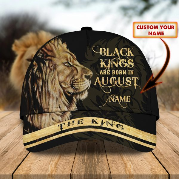Lion Black Kings Are Born In August custom personalized name cap