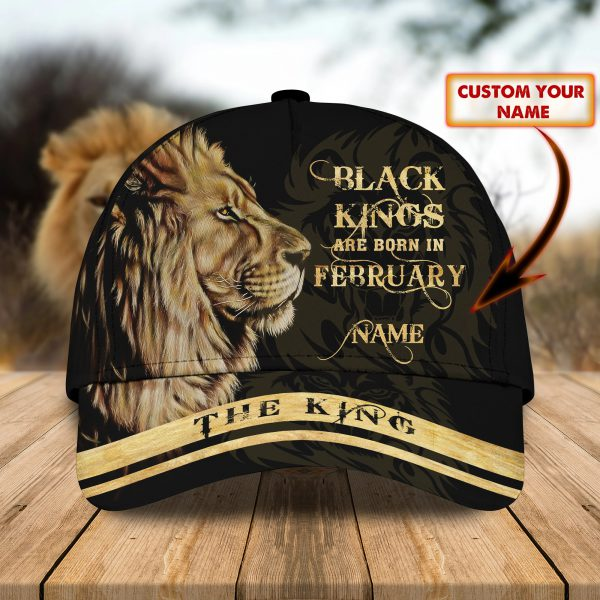 Lion Black Kings Are Born In February custom personalized name cap