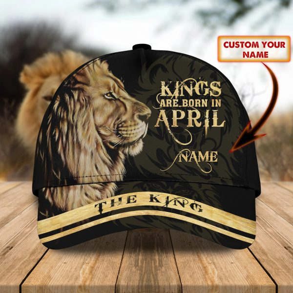 Lion Kings Are Born In April custom personalized name cap