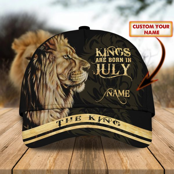 Lion Kings Are Born In July custom personalized name cap
