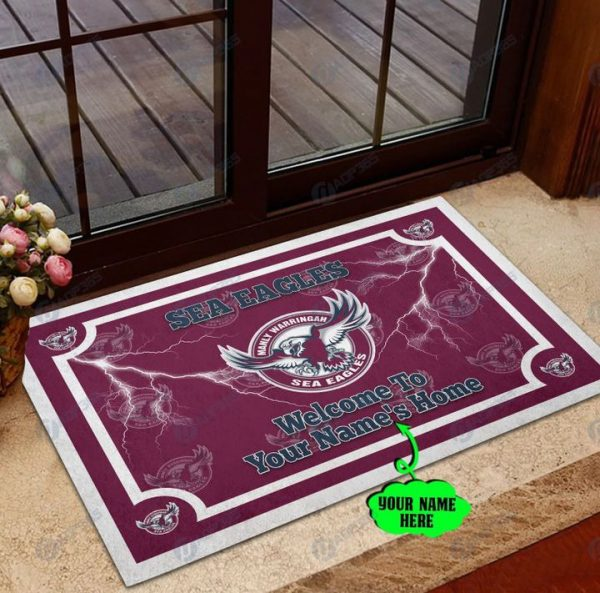 Manly Warringah Sea Eagles welcome to home Personalized Doormat