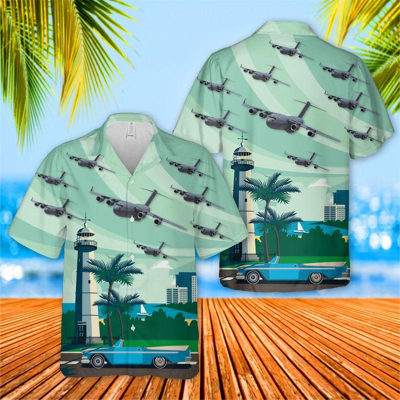 Mississippi Air National Guard 172nd Wing C 17 Globemaster III Hawaiian Shirt 1