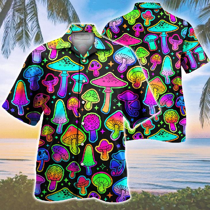 Mushroom Colorful Pattern Hawaiian Shirt