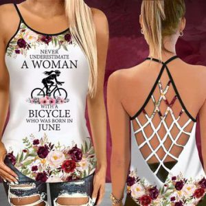 Never Underestimate A Woman With A Biycle Who Was Born In June Tank Top