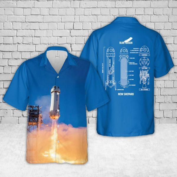 New Shepard Blue Origin Hawaiian Shirt
