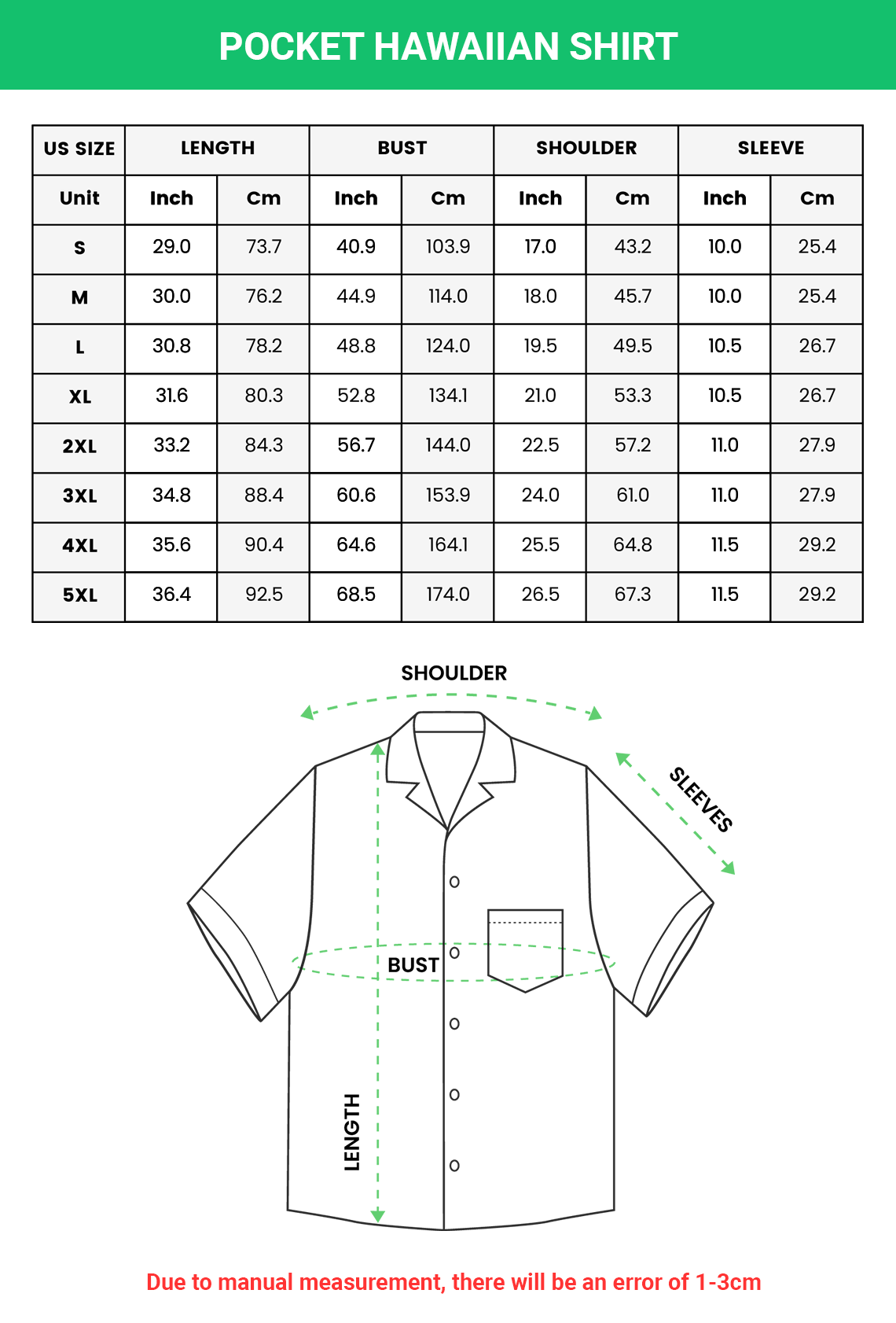 POCKET HAWAIIAN SHIRT Size chart 1