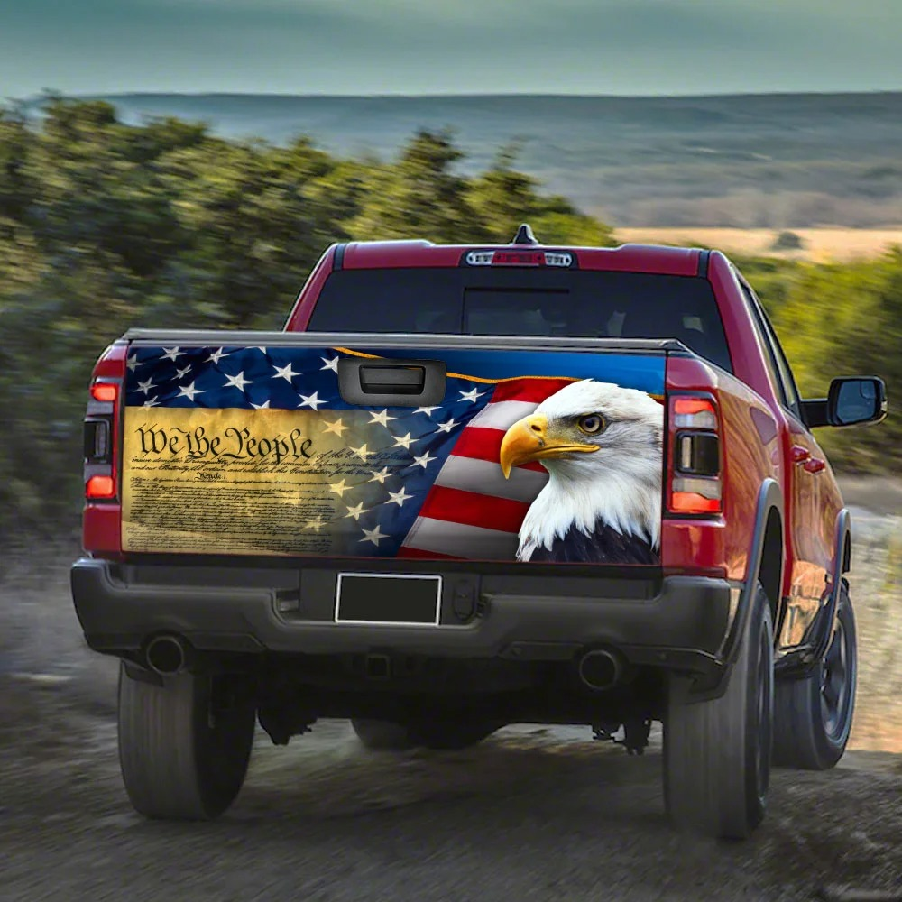 Patriotic Eagle Truck Tailgate Decal Sticker Wrap1