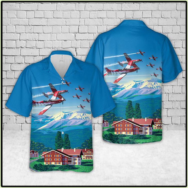 Pilatus PC 7 Swiss Air Force Hawaiian Shirt2 2