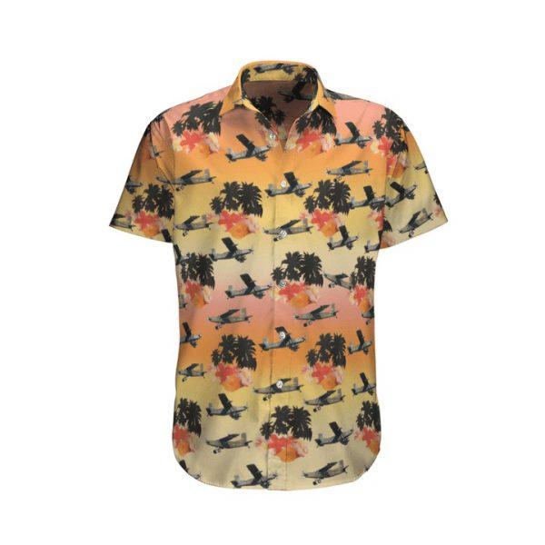 Pilatus Pc 6 French Army Sky Hawaiian Shirt And Shorts