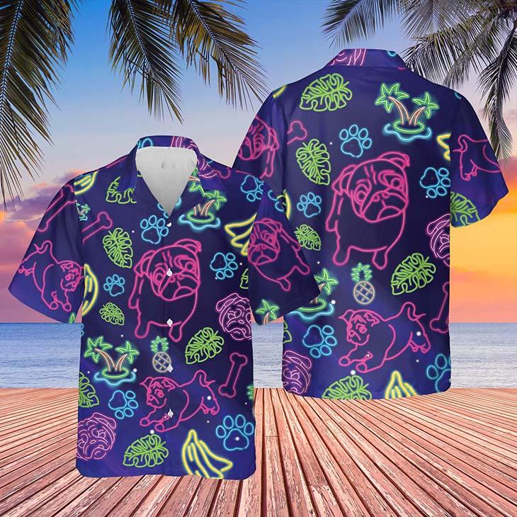 Pug Beautiful tropical light Hawaiian Shirt
