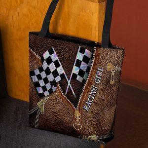Racing Girl Leather Tote Bag 1
