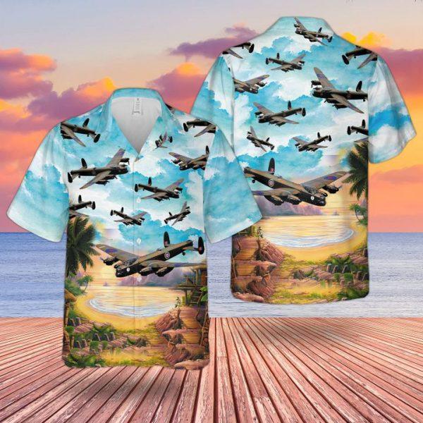 Raf Historical Lancaster Bomber Hawaiian Shirt and short