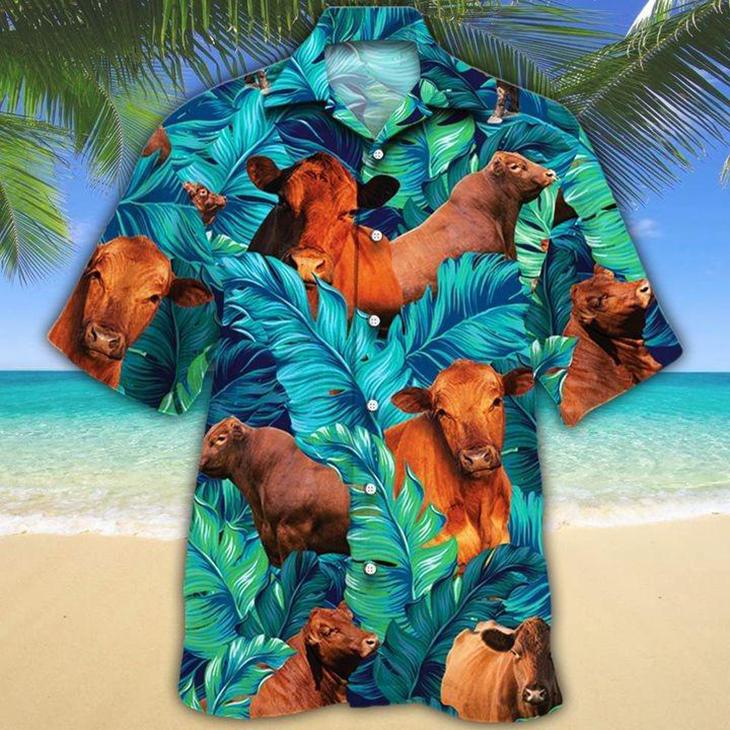 Red Angus Cattle Lovers Hawaiian Shirt
