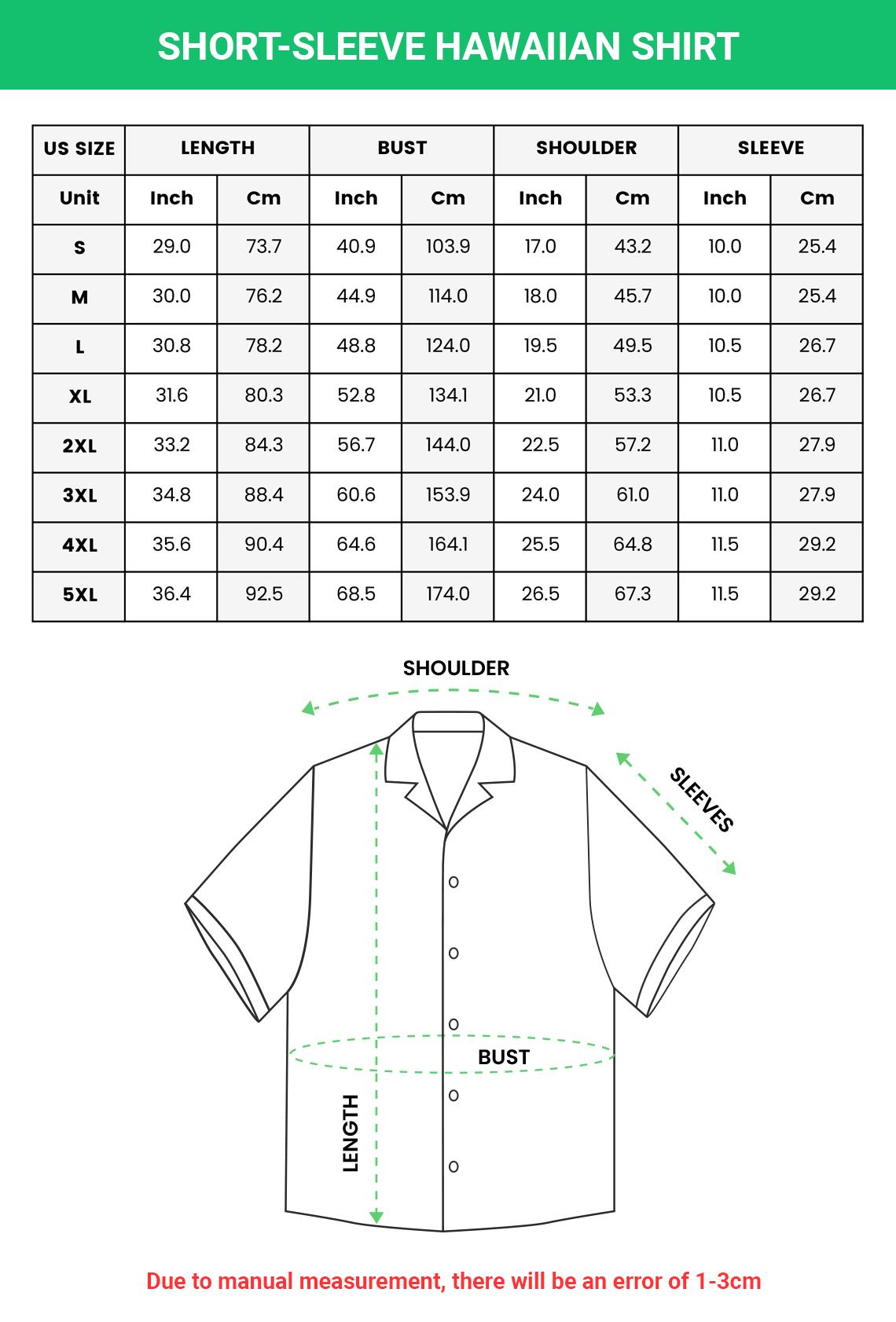 Short sleeve Hawaiian Shirt Sizechart 2