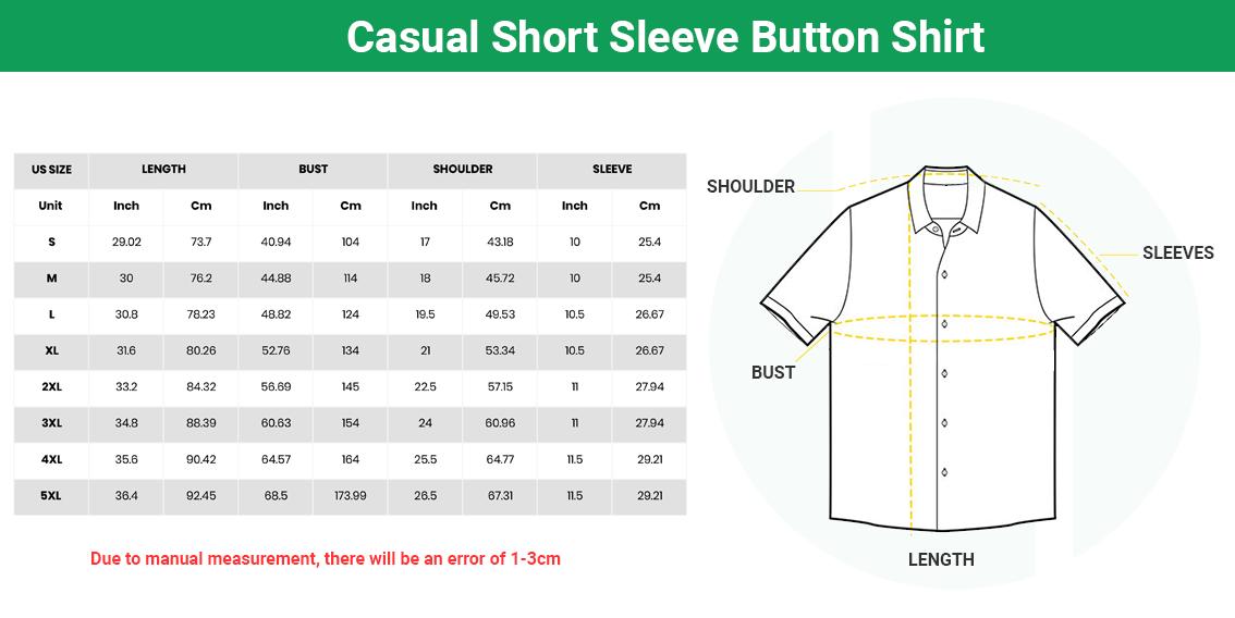 Size chart Casual Short Sleeve Button Shirt 1