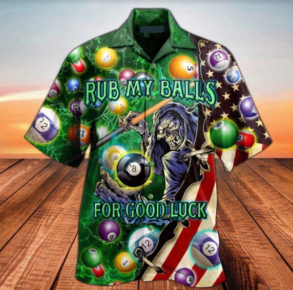 Skull Billiard rub my balls for good luck hawaiian shirt