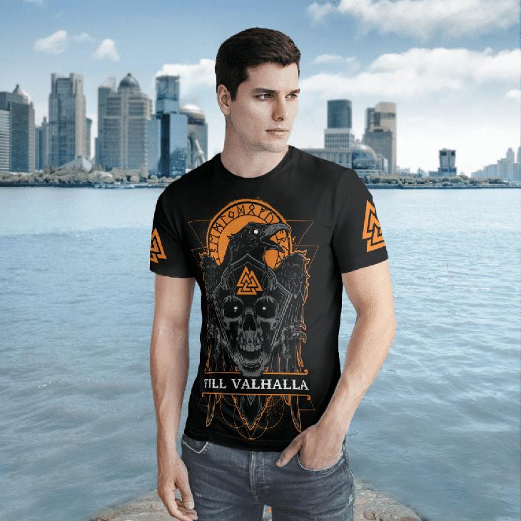 Skull Till Valhalla Vegvisir Viking 3D T Shirt2