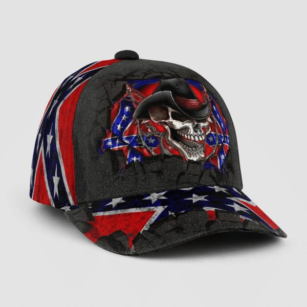 Skull the southern confederate flag cap