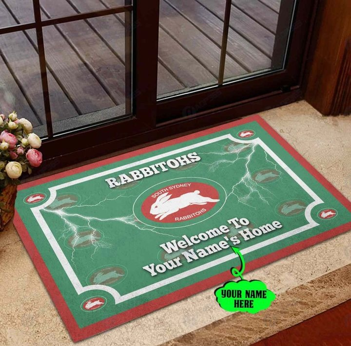 South Sydney Rabbitohs Personalized welcome to home Doormat