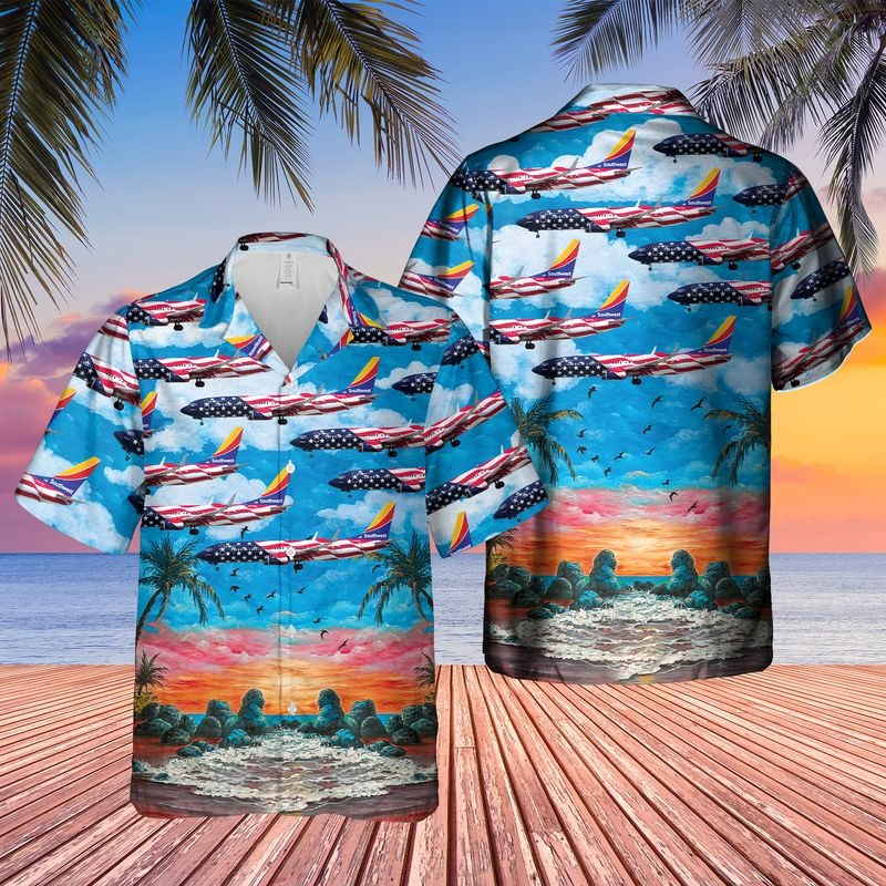 Southwest Airlines Boeing 737 8H4 Freedom One Hawaiian Shirt