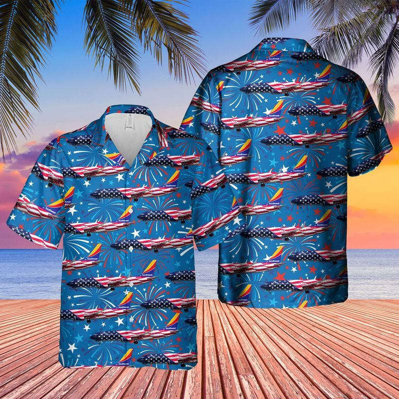 Southwest Airlines Boeing 737 8H4 Freedom One Hawaiian Shirt1