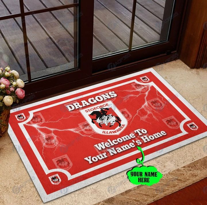 St George Illawarra Dragons welcome to home Personalized Doormat